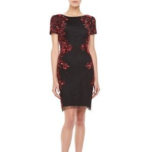 Aidan Mattox cocktail red and black sequins